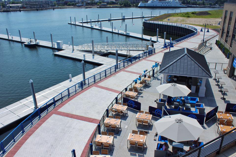 An aerial view of the Boca Oyster Bar patio and marina walkway