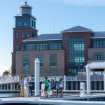 The waterfront advisory board meets on the docks at the Lighthouse