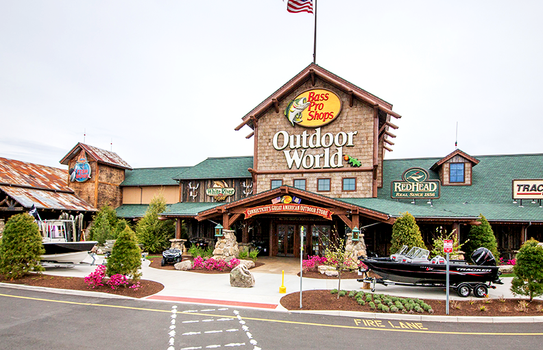 The main entrance at Bass Pro Shops Outdoor World
