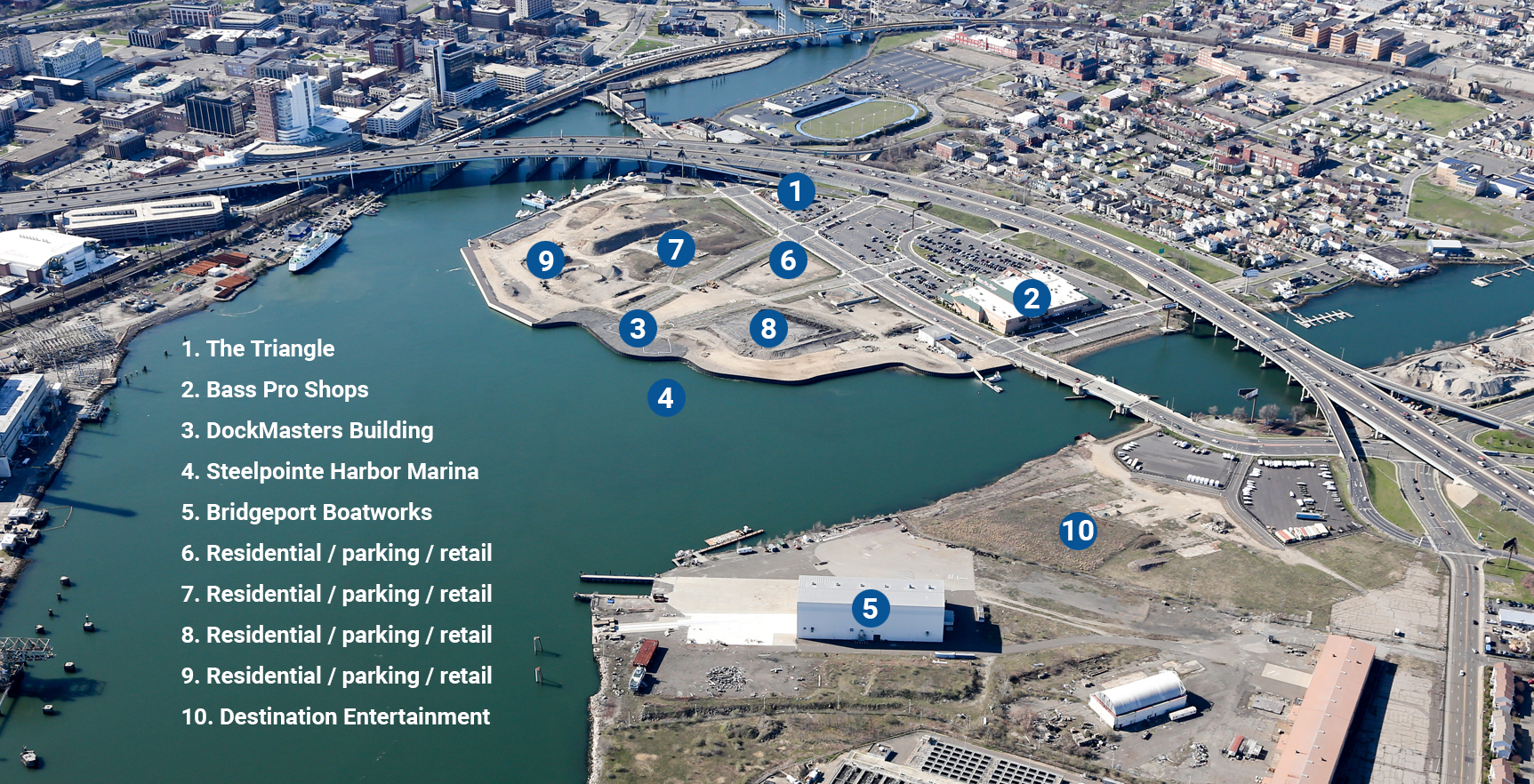 Overview map of Steelpointe and Bridgeport Boatworks